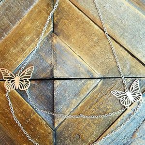 Butterfly, double chain necklace
